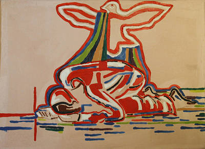 African Contemporary Ceramics Painting - Slain In The Holy Spirit by Gloria Ssali