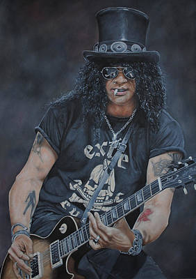 Velvet Revolver Painting - Slash Live by David Dunne
