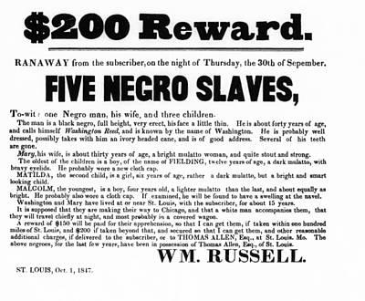 Hiding Photograph - Slave Family And Children Escape - Reward Poster - 1847 by Daniel Hagerman
