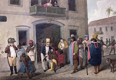 Slaves In Brazil Hand-coloured Engraving Print by English School