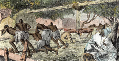 Trade Drawing - Slaves Irrigating By Water-wheel by English School
