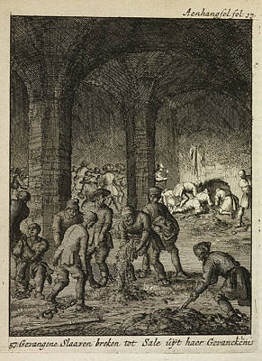 Slaves Working In An Underground Catacomb Print by British Library