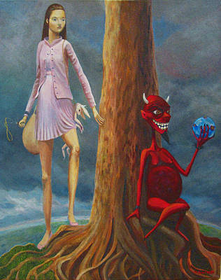 Overcoming Painting - Slaying The Devil Who Eats My Dreams by Mindy Huntress
