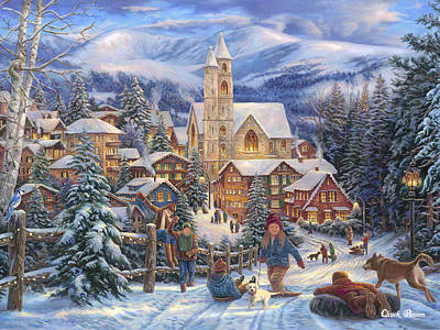 Puppy Painting - Sledding To Town by Chuck Pinson