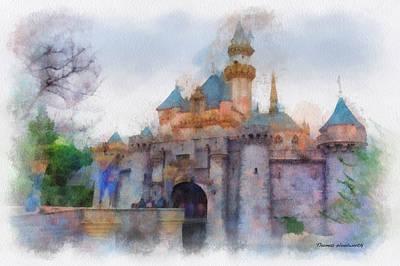 Merchandise Mixed Media - Sleeping Beauty Castle Disneyland Side View Photo Art 01 by Thomas Woolworth