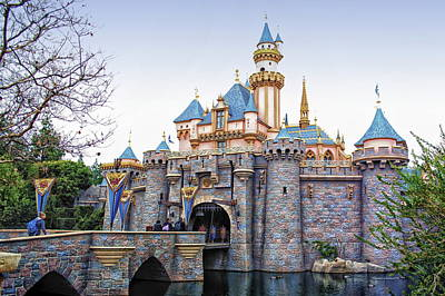 Mouse Mixed Media - Sleeping Beauty Castle Disneyland Side View by Thomas Woolworth