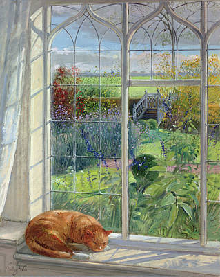 Sleeping Cat And Chinese Bridge Oil On Canvas Print by Timothy Easton