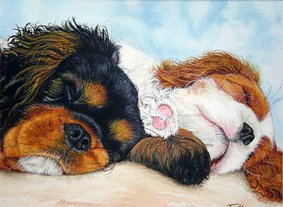 Sleeping Cavalier Puppies Print by Toulla Hadjigeorgiou