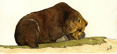 Sleeping Grizzly Bear Original by Juan  Bosco