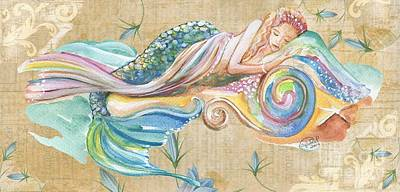 Sleeping Mermaid Print by Sylvia Pimental