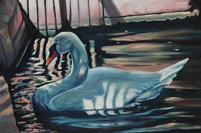 Swans... Painting - Sleeping Swan by Eve  Wheeler