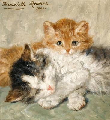 Henriette Ronner-knip Painting - Sleepy Kittens by Henriette Ronner-Knip