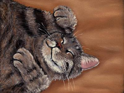 Cute Painting - Sleepy Kitty by Anastasiya Malakhova