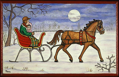 Moonlight Painting - Sleigh Ride With Grandpa by Linda Mears