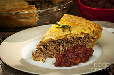 Slice Of Meat Pie Tourtiere Print by Elena Elisseeva