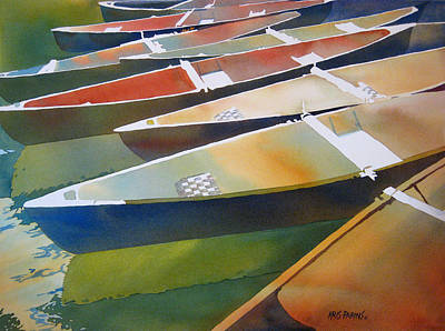 Canoes Painting - Slices by Kris Parins