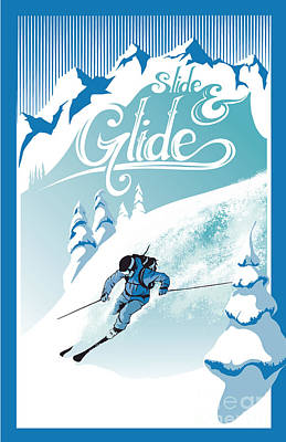Action Sports Art Painting - Slide And Glide Retro Ski Poster by Sassan Filsoof