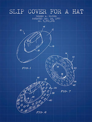 Slip Cover For A A Hat Patent From 1997 - Blueprint Print by Aged Pixel