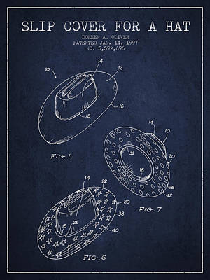 Slip Cover For A A Hat Patent From 1997 - Navy Blue Print by Aged Pixel