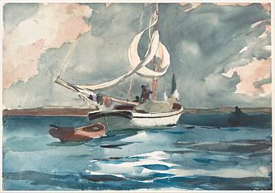 Yacht Painting - Sloop  Nassau Bahamas by Winslow Homer