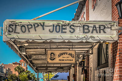 Multi Colored Photograph - Sloppy Joe's Bar Canopy Key West - Hdr Style by Ian Monk