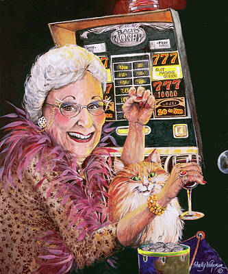 Money Painting - Slot Machine Queen by Shelly Wilkerson