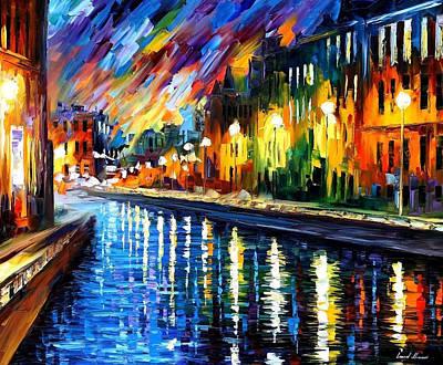Slow River - Palette Knife Oil Painting On Canvas By Leonid Afremov Original by Leonid Afremov