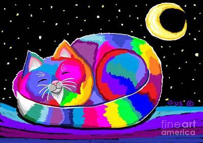 Kittens Digital Art - Slumbering Rainbow Cat by Nick Gustafson