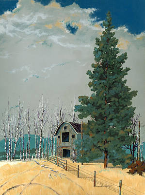 Barn Landscape Painting - Small Barn Big Pine by John Wyckoff