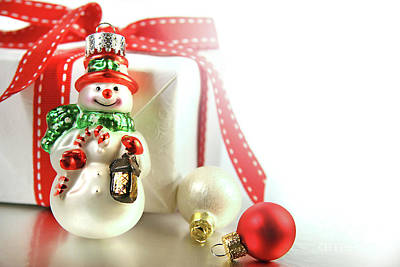 Small Christmas Ornament With Gift Print by Sandra Cunningham