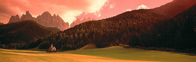 Dolomite Photograph - Small Church Dolomite Region Italy by Panoramic Images