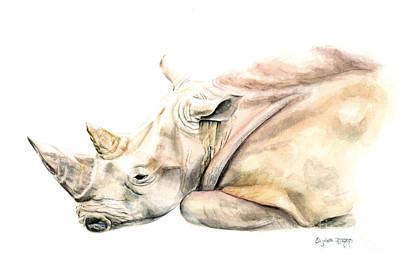Rhinocerus Painting - Small Colour Rhino by Elizabeth Lock