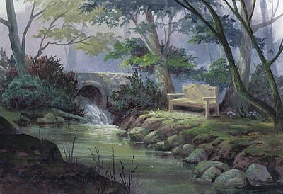 Gouache Painting - Small Falls Descanso by Michael Humphries