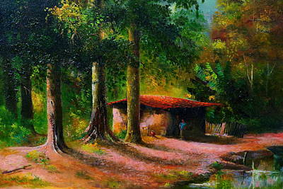 Small House In The Countryside Original by Julio Ortiz