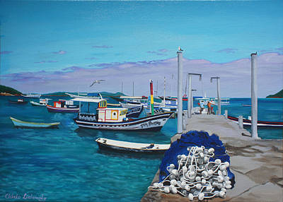 Small Pier In The Afternoon-buzios Print by Chikako Hashimoto Lichnowsky
