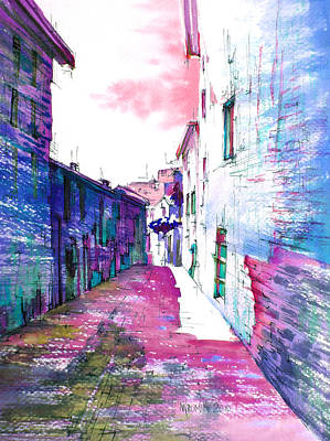 small streets of the city of Gubbio-1 Print by Khromykh Natalia