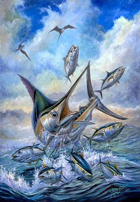 Blue Marlin Painting - Small Tuna And Blue Marlin Jumping by Terry Fox