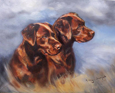 Chocolate Labrador Retriever Painting - Smartie And Buttons by Kathryn Dalziel