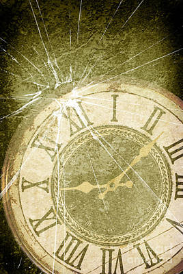 Smashed Clock Face Print by Amanda And Christopher Elwell
