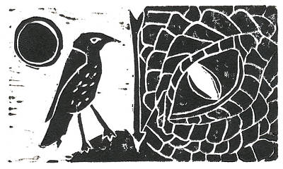 Lino Relief - Smaug And The Thrush by Lynn-Marie Gildersleeve