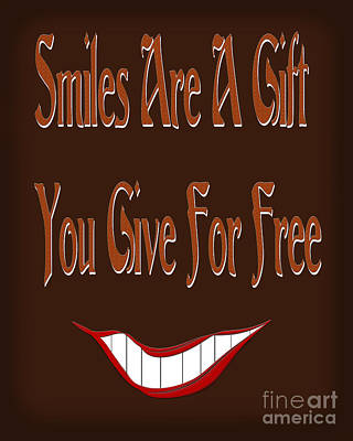 Icon Mixed Media - Smiles Are A Gift You Give For Free by Andee Design