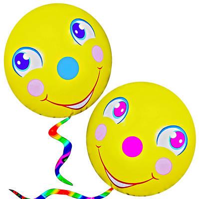 Smiley Face Balloons Print by Susan Leggett