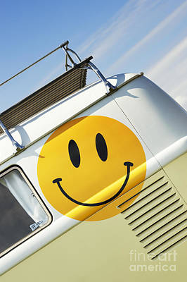 Smiley Face Vw Campervan Print by Tim Gainey