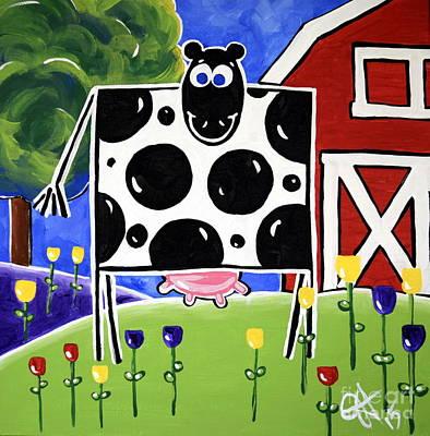Steer Painting - Smiley by Jackie Carpenter