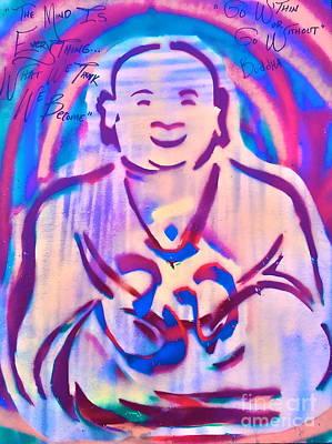 First Amendment Painting - Smiling Purple Buddha by Tony B Conscious