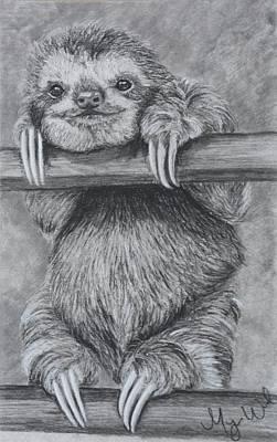 Sloth Drawing - Smiling Sloth by Megan Wood