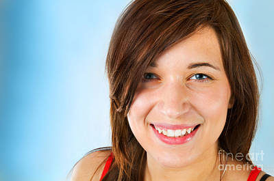 Expression Photograph - Smiling Teenage Girl by Michal Bednarek