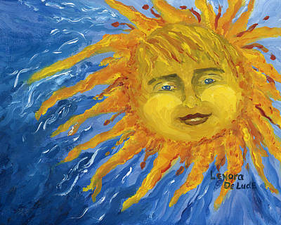 Smiling Yellow Sun In Blue Sky Print by Lenora  De Lude