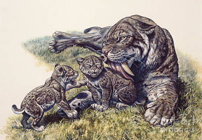 Smilodon Sabertooth Mother And Her Cubs Print by Mark Hallett