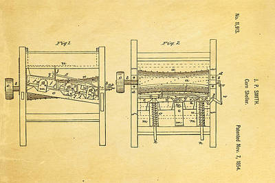 Smith Corn Sheller Patent Art 1854 Print by Ian Monk